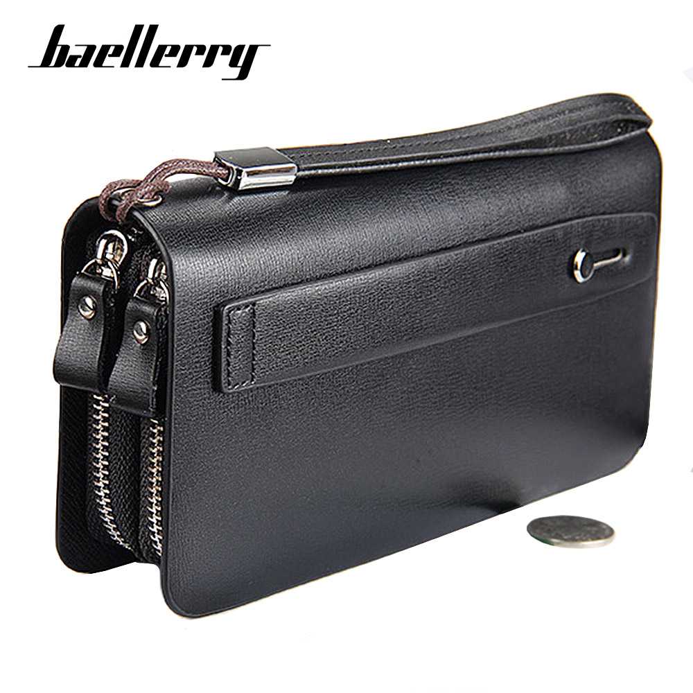 Baellerry Men Wallets Large Capacity Cell Phone Pocket Double Zipper Men Clutch Bag Passcard Pocket Male Business Wallet