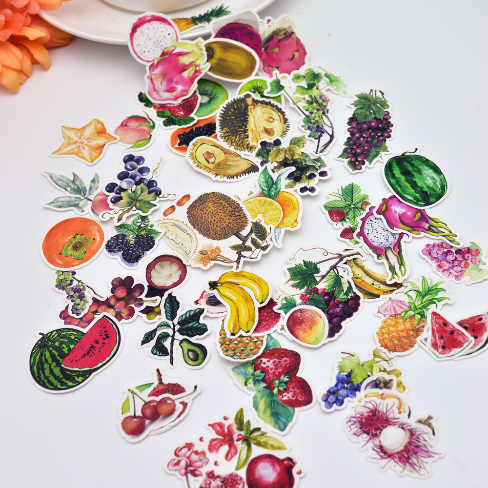 49pcs Cute Hand Make Colorful Small Fruit Food Sticker Decoration Dry Glue  /hand Book Diary Stationery Sticker