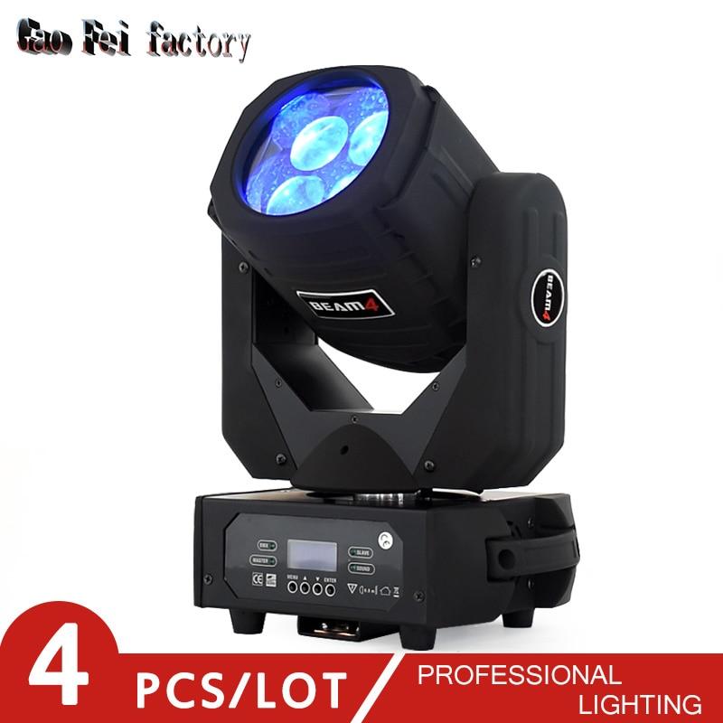 4 шт./лот 4x25 Вт Светодиодный луч движущаяся головка светильник DMX 9/16 каналов супер луч сканер вращающийся стеклянный объектив