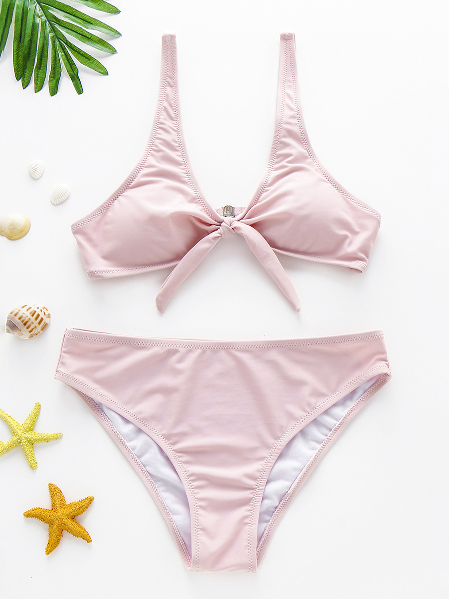 New Style Solid Color Europe And America Chest Knot Split Type Sexy Bikini Swimsuit 2019 New Style A Large Amount Currently Avai