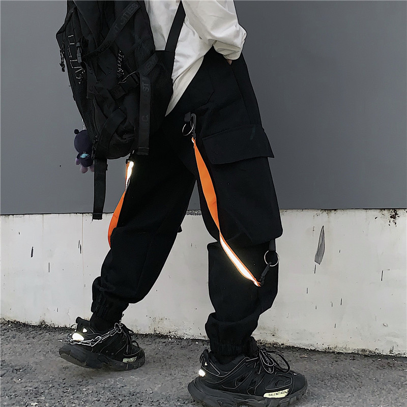 Focal20 Streetwear Hip Hop Solid Color Neon Tape Women Cargo Pants Large Pockets Loose Female Trousers Casual Autumn Lady Bottom 1