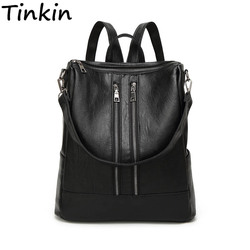 Tinkin PU skórzany plecak dla kobiet prosty plecak na co dzień średniej wielkości plecak dla dziewczynki codzienna torba Vintage plecak Mochila
