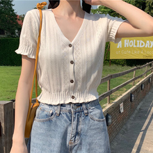 HELIAR Women Knitted T-shirts V-Neck Button Up Tees Short Sleeve Casual Crop Tops For Women 2021 Summer T-Shirts