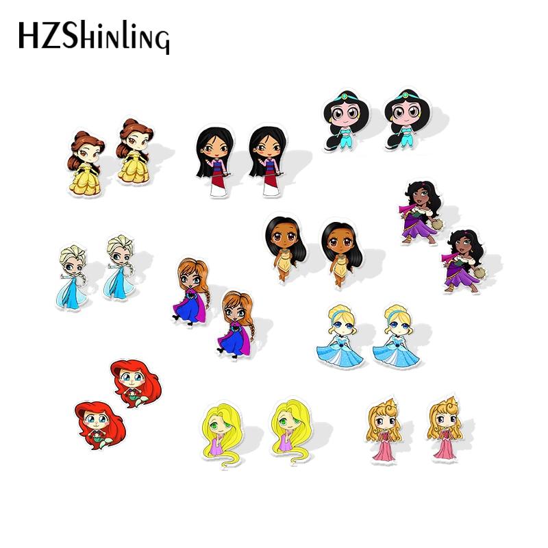 2019 New Princess Jasmine Acrylic Earring Belle Mulan Anna Shrink Dinks Earring Epoxy Cute Girl Snow Queen Stud Earrings