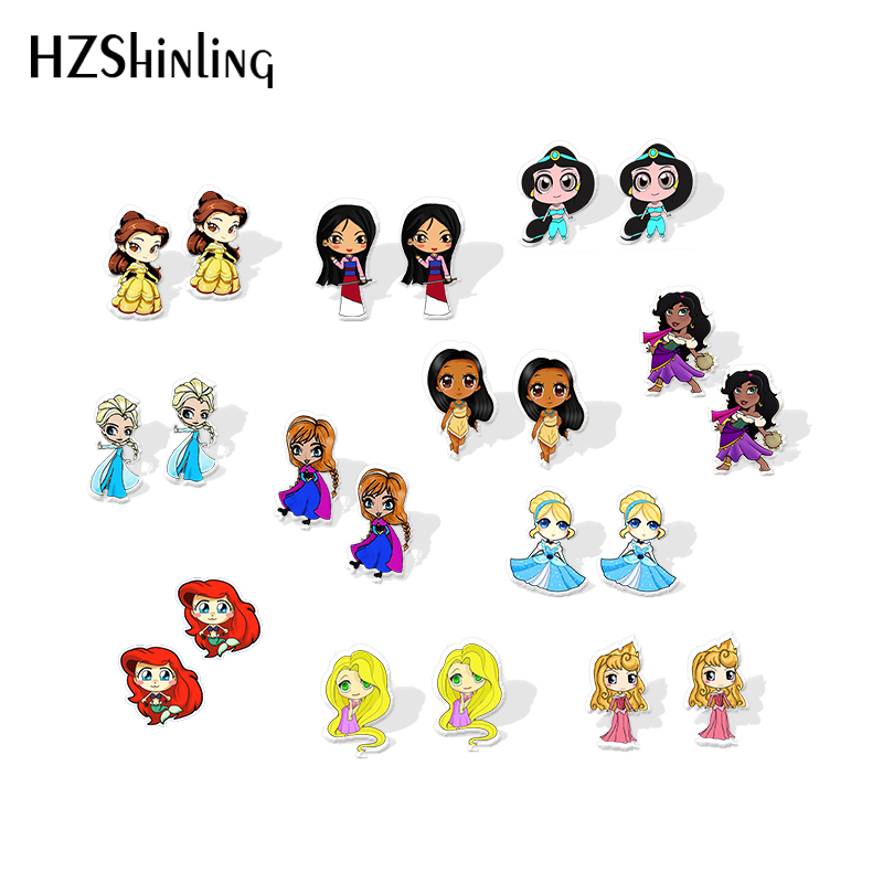 2019 New Princess Jasmine Acrylic Earring Belle Mulan Shrink Dinks Earring Epoxy Cute Girl Stud Earrings