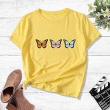 Femmes T-shirt En Coton Motif Papillon Jaune Hauts Manches Courtes Harajuku Kawaii Tunique Chemises Vêtements Femme Robes