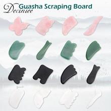 4Colors Natural Jade Gua sha Stone Board Face Massager Scrapers Massage Quartz Guasha Plate Pressure Therapy For Face Neck Body