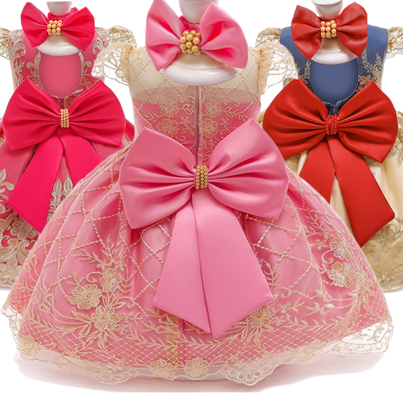 Baby Girl 1 Year Birthday Dress Infant Party Dresses Cute Bow Dress Lace Christening Gown Toddler Girls Clothes With Headband