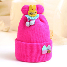 купить Cute Rabbit Ear Baby Hats Knitted Wool Newborn Turban Beanie Warm Caps Soft Hat For Girls Boys Elastic Bonnet Autumn Winter 2019 дешево