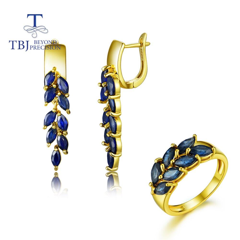 Saphir anneaux pierres précieuses naturelles avec 925 argent sterling or jaune anneaux bijoux de mode beau cadeau de mariage pour les femmes