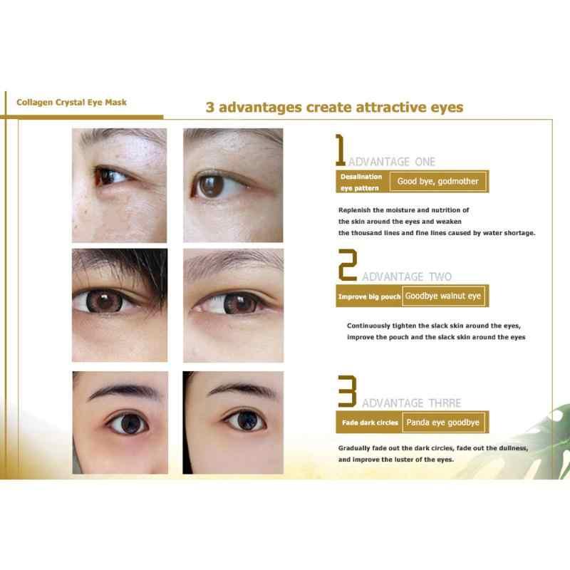 24k or cristal masque pour les yeux collagène patchs Anti-âge cernes poches hydratant yeux masques Gel tampons pour sous les yeux sacs
