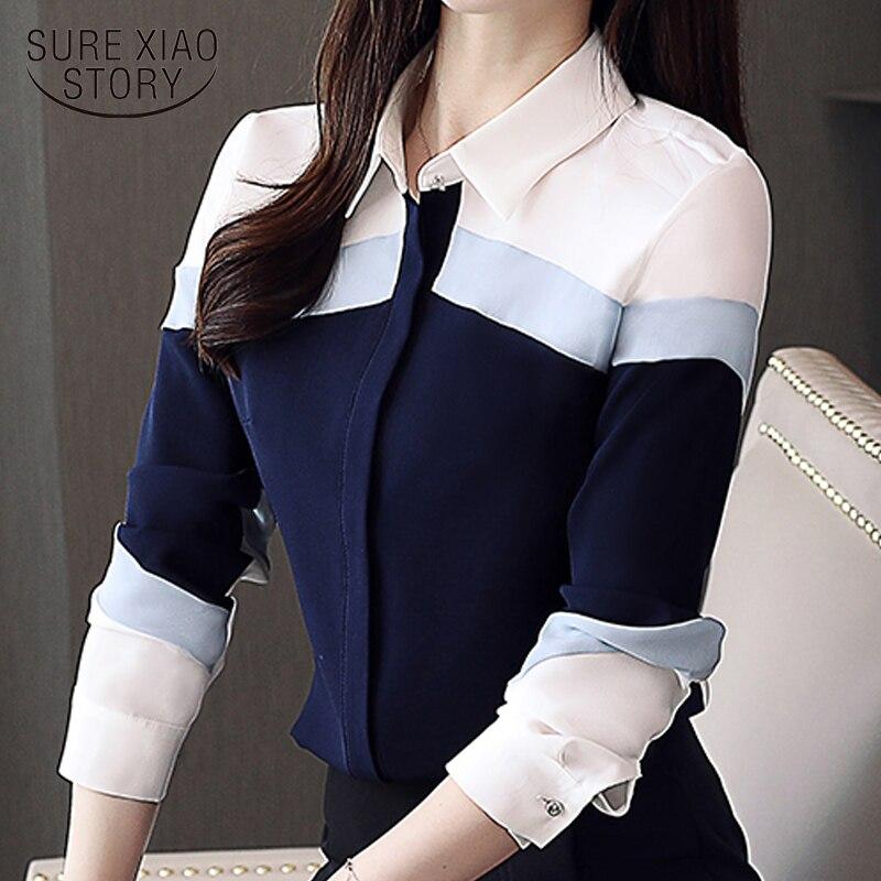 2019long Shirt Women Women Tops Chiffon Shirt Striped Casual Office Ladies Women Shirt Turn-down Collar Feminine Blouses 5302 50