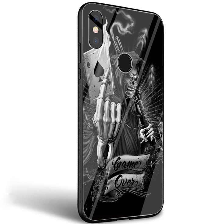 Desxz Grim Reaper גולגולת שלד יוקרה זכוכית מקרה עבור שיאו mi mi 8 לייט 9 A1 A2 אדום mi הערה 5 6 7 פרו 6A 4X Pocophone F1 כיסוי