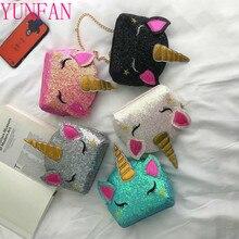 Unicorn Bag Bolsa Wallet Clutch Shoulder-Bags Sequins Crossbody Mini Fashion Women Cartoon