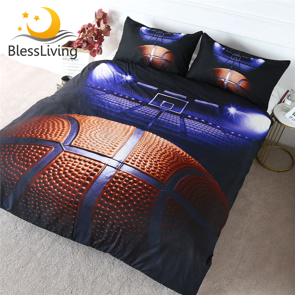 BlessLiving Basketball Curt Bedding Set For Teen Boys 3D Print Duvet Cover 3 Piece Sports Blue Bed Cover Set Queen Bed Linen