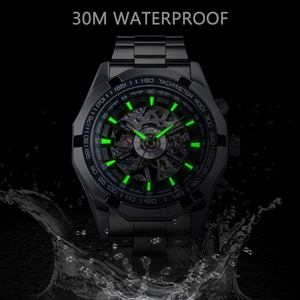 Image 4 - Forsining 2017 Silver Stainless Steel Waterproof Military Sport Casual Mechanical Wrist Watch Mens Watch Top Brand Luxury Clock