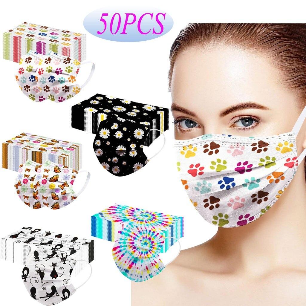 50 шт маска для лица мода мультфильм печатных мягкие маски для взрослых 3-слойная Нетканая маска для лица рот колпачки одноразовые mascarillas