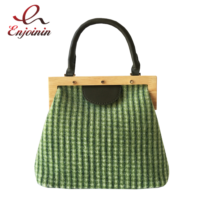 Green & Apricot Plaid Pattern Wood Buckle Fashion Casual Women Tote Bag Shoulder Bag Crossbody Bag Purses and Handbags Pouch