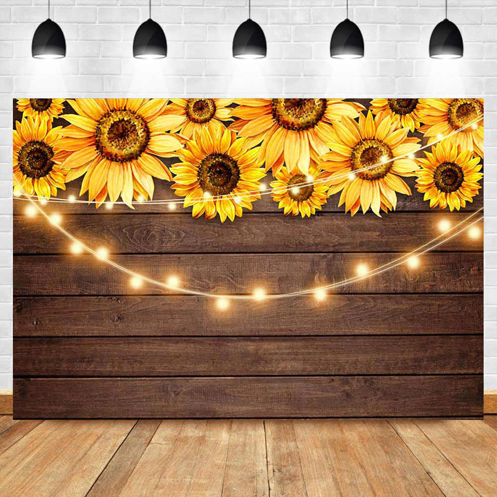 Haoyiyi 10x6.5ft Sunflowers Blooming Backdrop Vintage Retro Rustic Wood Board Background Photography Photo Newborn Baby Shower Gender Reveal Party Graduation Prom Birthday Photobooth Banner