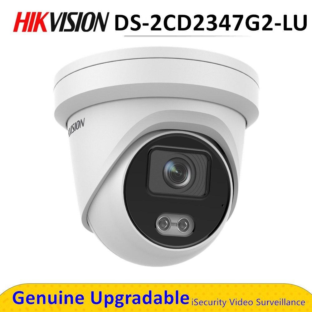 D'origine Hik IP 4MP caméra DS-2CD2347G2-LU POE H.265 + IP67 Tourelle Réseau Polychrome Microphone Intégré WDR ColorVu Extérieur