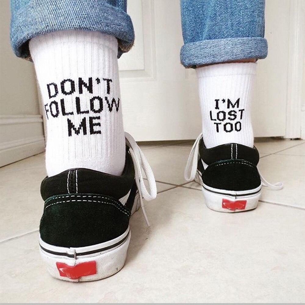 2020 черные белые хлопковые носки AB Side Don't Follow Me I'm Lost too Creative унисекс Женские Мужские повседневные носки ежедневный