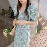 2021 sommer Koreanische Chic Temperament Kleine Kleid Frische Und Dünne V-ausschnitt Kreuz Bandage Taille Ein Stück Blumen Blase Hülse Kleid