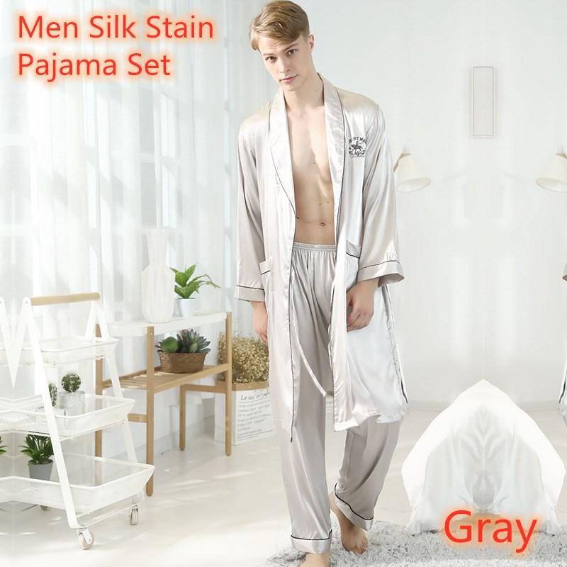 2020 Men's Stain Silk Pajamas Robes Sets Bornoz Setleri Pijama Verano Hombre Winter Long Sleeve Trousers Sexy Nightwear Men Home