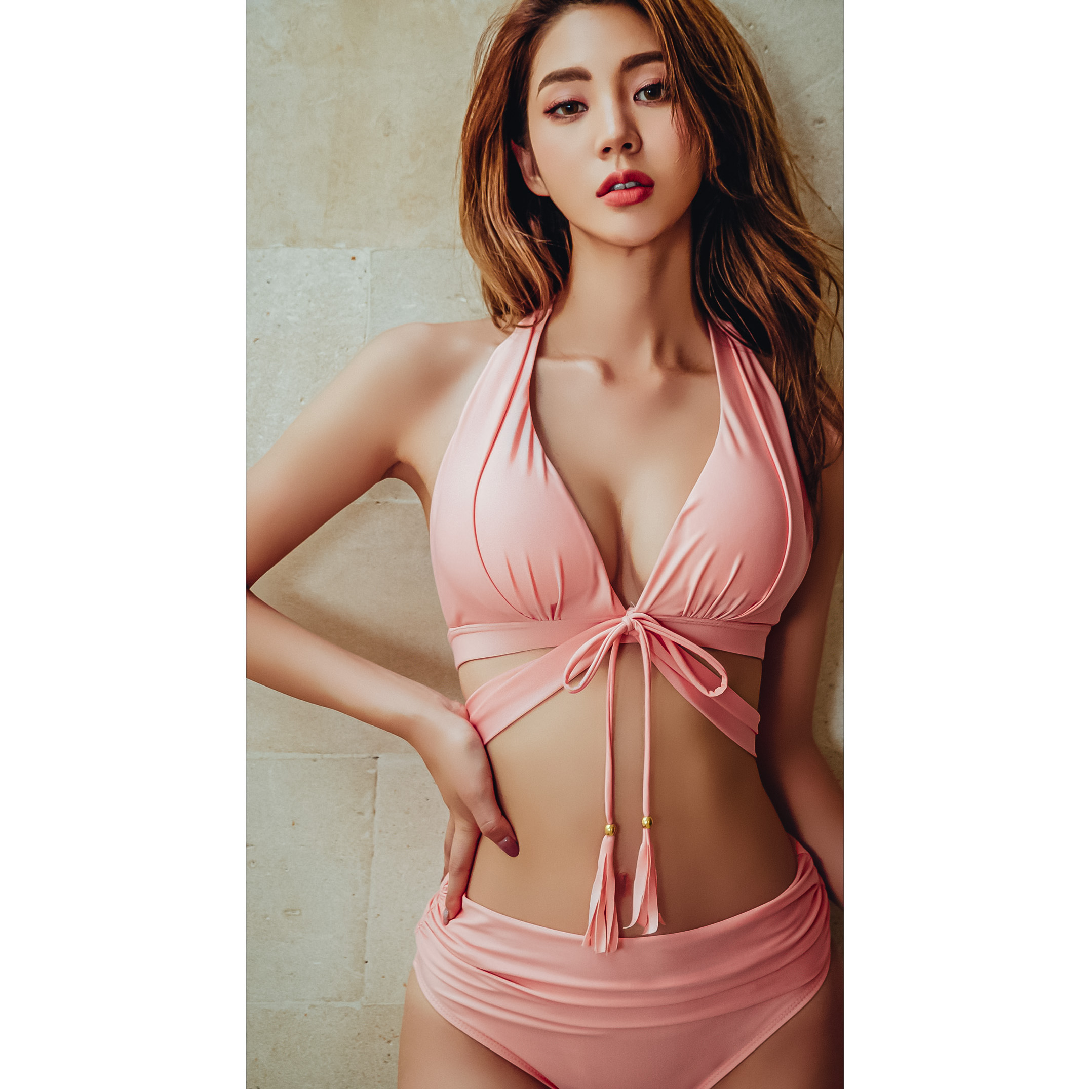 Sexy Pink High Waist Push Up Bikini 2020 Bandage Swimsuit Women Tassle Swimwear Beach Wear Swim