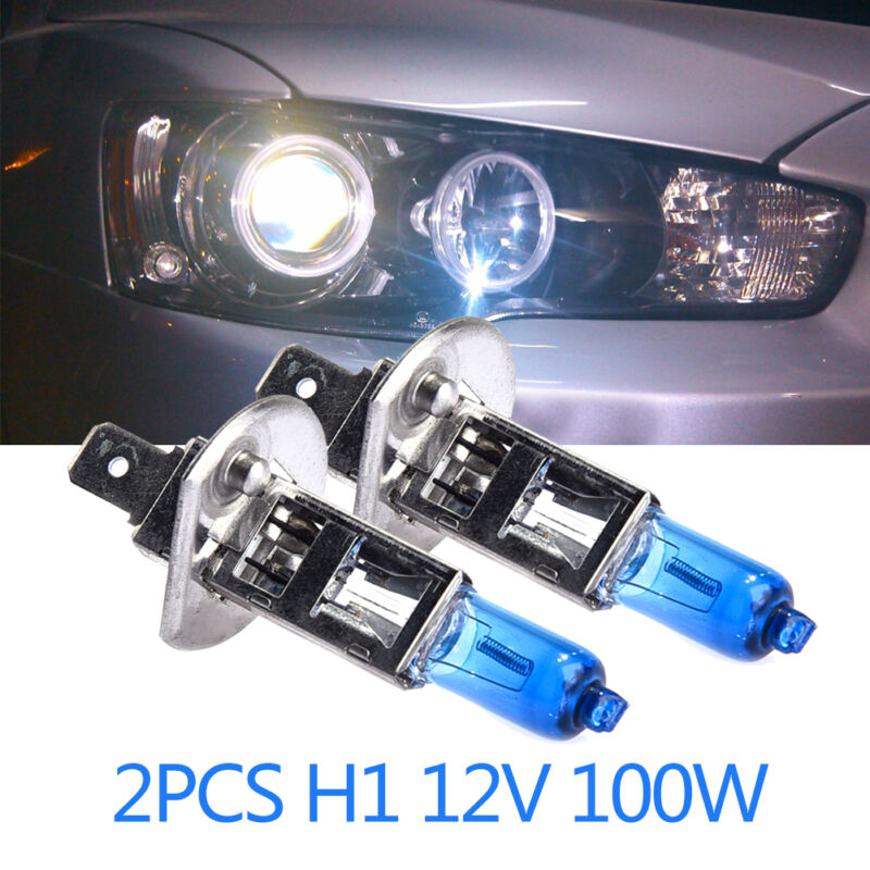 2 Pcs H1 12V 100W Car Headlights White 6000k Heads Lights Lamps Halogen Bulb