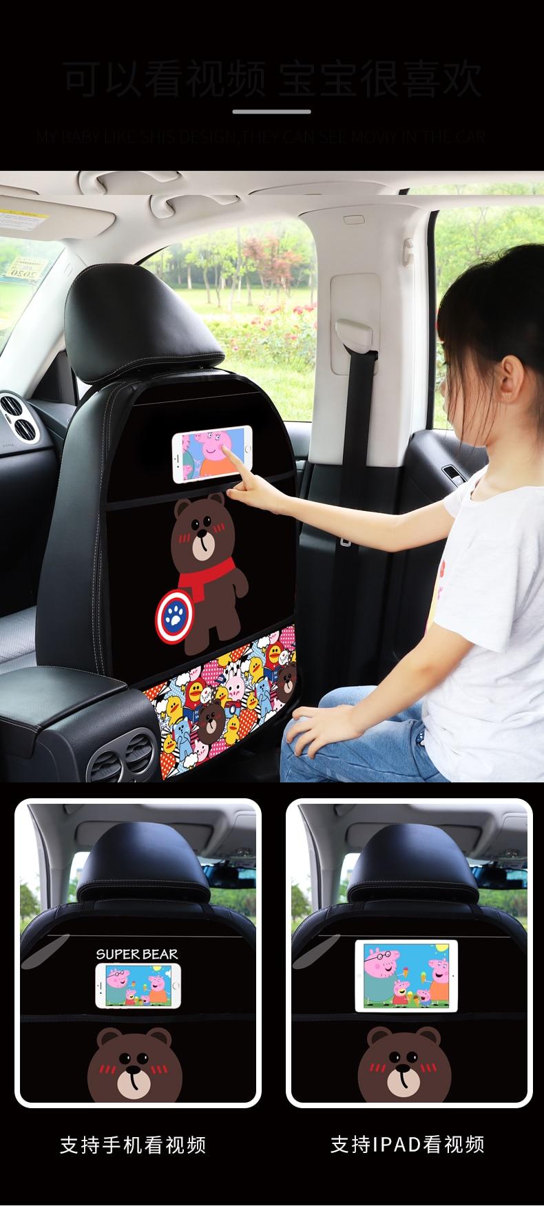 Children Anti-kick Mat for Automobile Anti dirt Mat for Car Front Seat Touch Screen Cute Car Seat Back Protectors Anti-kick mats