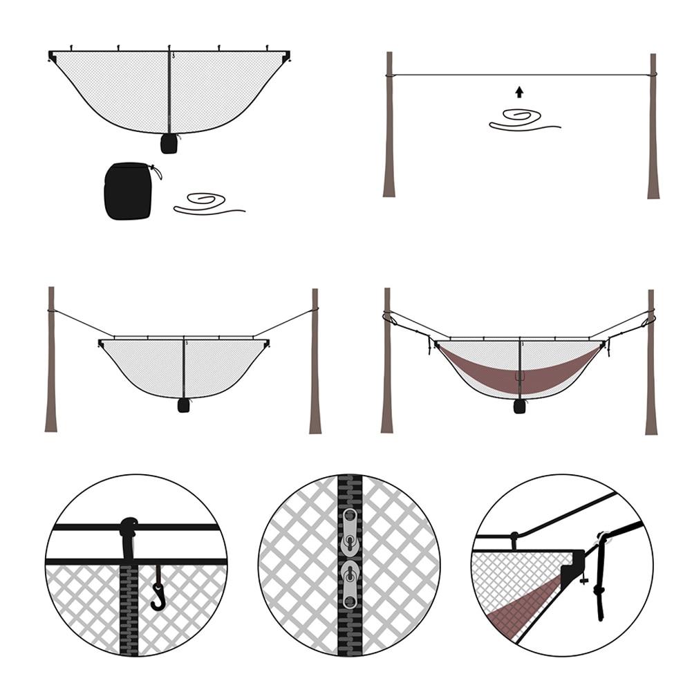 Separating Lightweight Zipper Outdoor Double Hammock Net Bug Mosquito Hook Tool