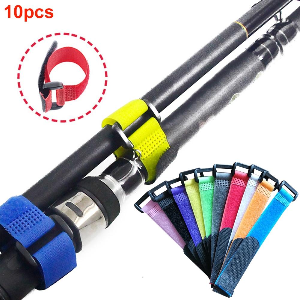 10pcs Anti-slip Fishing Rod Band Holder Straps Magic Sticker Reusable Wrap Tool Outdoor Fishing Nylon Belt Fixing Tie Adjustable
