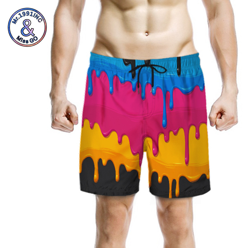 3D Digital Printing Quick-Dry Shorts Couples Beach Shorts Loose And Plus-sized Europe And America Clothing Processing Customizab