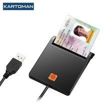 KARTOMAN USB 2.0 czytnik kart inteligentnych pamięci dla ID banku EMV elektroniczny DNIE dni citizen sim cloner adapter złącza komputer stancjonarny