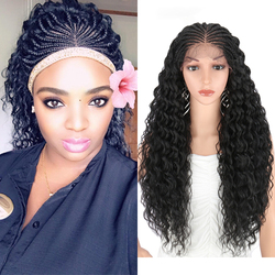 Pelucas de pelo trenzado a mano Kalyss de 28 pulgadas para mujeres negras peluca con malla frontal sintética con pelo de bebé ondulado rizado para pelucas de Cosplay para mujeres