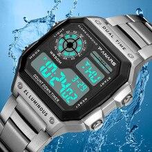 PANARS спортивные цифровые часы для мужчин часы хронограф водонепроницаемый ремешок из нержавеющей стали наручные часы для мужчин s мужские часы Relogio Masculino