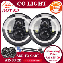 CO LIGHT 7inch LED Headlight 80W DRL Halo Angle Eyes Led Headlamp 12V 24V DOT E9 High Low Turn Signal for Lada Niva Offroad 4x4