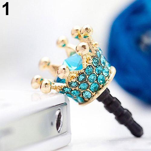 Phone Accessories Fashion Rhinestone Crown 3.5mm Anti Dust Earphone Dock Plug Stopper Cap Cover Stopper Cap mobile accessories