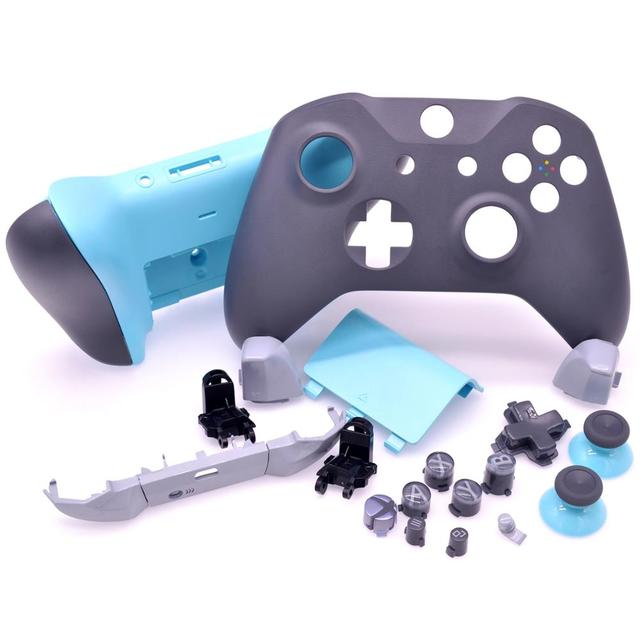Original FULL SHELL Housing Replacement + LBRB Thumbstick Buttons for Xbox One Controller 1708 Grey/Blue Phantom Special Edition