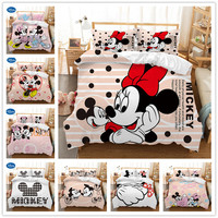 DISNEY Mickey Mouse 3d Bedding Set Duvet Cover Sets single double Queen King Size 3/4PCS Bedclothes bed linen Christmas gifts