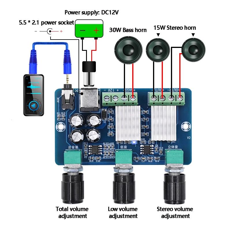 YDA138-E YAMAHA Digital Audio Amplifier Board 2.1 Channel 2*15W+30W Class D Stereo HD Sound Amplifiers Board Home Sound Theater