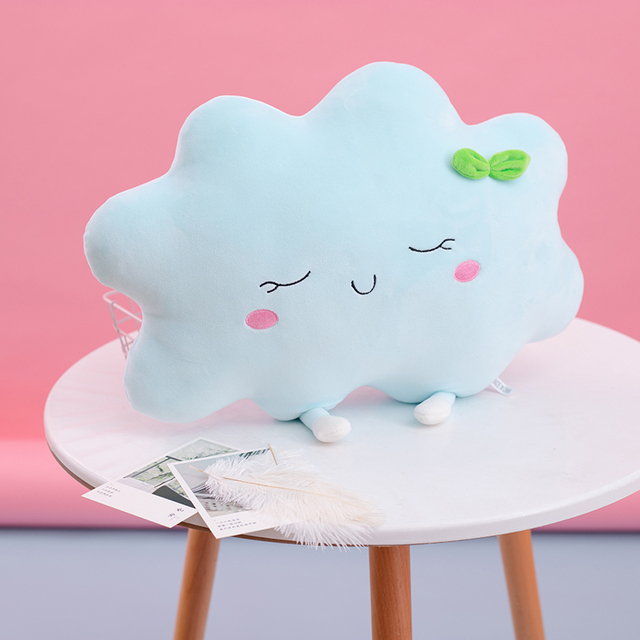 Hot Sale 35cm Car Cushion Cloud 2 colors Pillow Soft Cushion Lovey Stuffed Plush Toys For Children Baby Kids Baby Doll