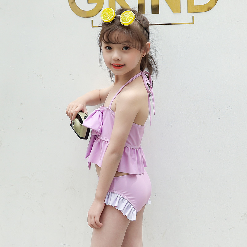 South Korea 2019 New Style Girls Large Bow Camisole Two-piece Swimsuits