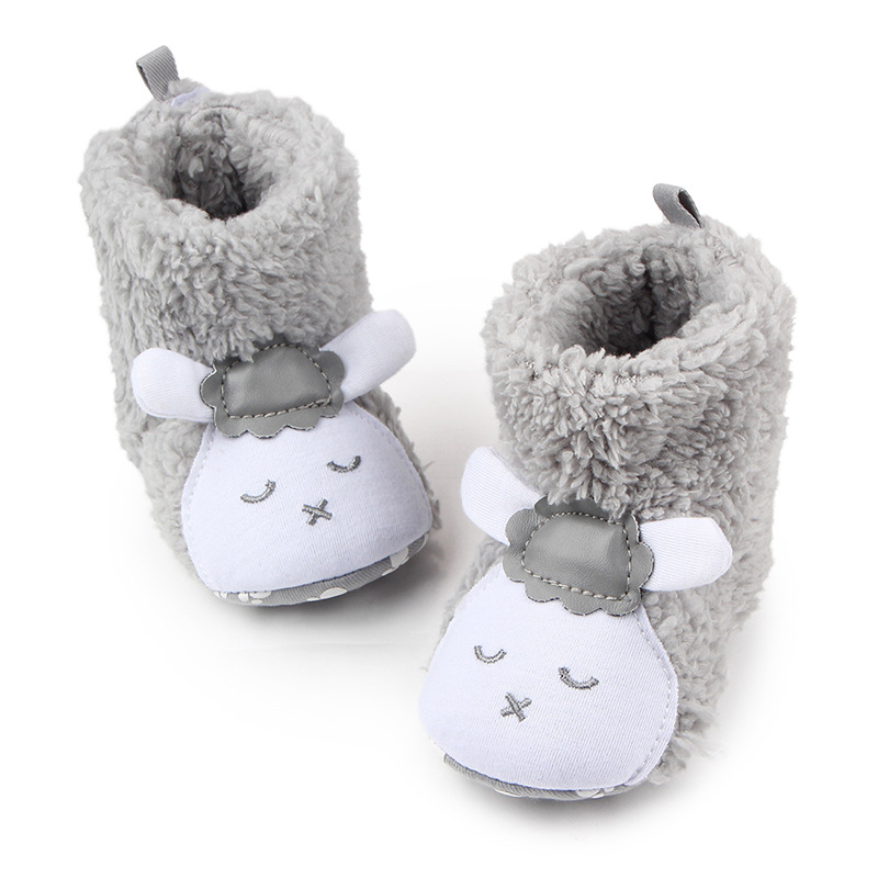 New Winter Baby Boots Cartoon Cute Plush Baby Shoes For Kids Sheep Panda Infant Boots For Boys Girls Super Keep Warm