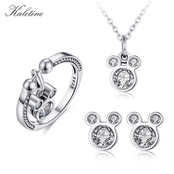 Kaletine Cute Mickey 925 Sterling Silver Jewelry Sets Earrings /Neckalce/Rings For Women Mouse Pendant Charm CZ Kids Jewelry - discount item 22% OFF Jewelry & Accessories