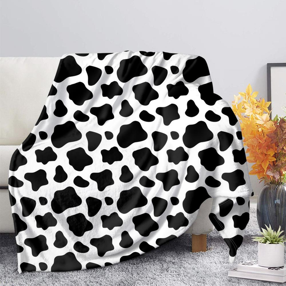 TOADDMOS White and Black Cow Lover Fleece Blanket Warm Bedroom Throw Blanket on Bed Sofa Bedding Home Textiles Adult Kids Quilt
