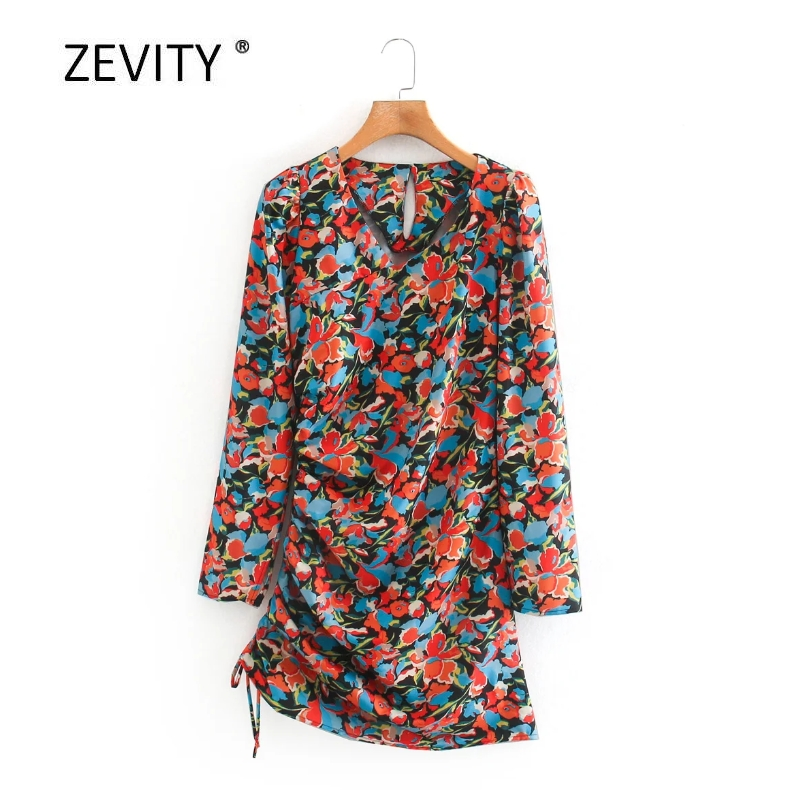 Women vintage v neck flower print side pleated drawstring slim mini dress female long sleeve knitted vestido chic Dresses DS4138