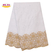 Niai Золотая швейцарская кружевная ткань новейшая вышивка Африканская