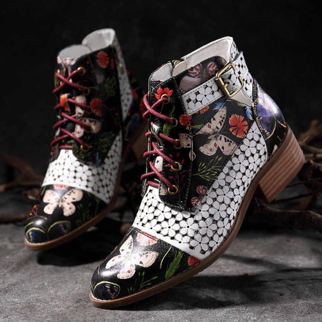 ภาพวาดดอกไม้ดอกไม้รูปแบบข้อเท้ารองเท้าสำหรับสตรีวัวหนัง Splicing LACE-Up เย็บสายคล้องรองเท้า zapatos De mujer