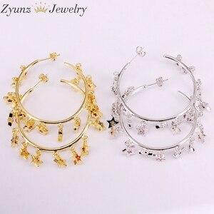 Image 3 - 3 paires, couleur or/argent mignon cz étoile boucle doreille avec arc en ciel brillant cz étoile pour les femmes de luxe charme fête bijoux